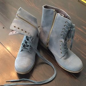 Paratrooper-style blue faux suede combat booties